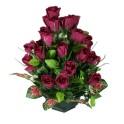 Pot de roses bordeaux diamètre 19