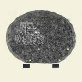 Plaque ovale granit lanhelin avec tracteur 30*23