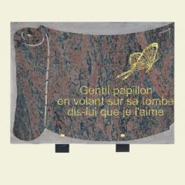 Plaque parchemin granit rose Dalva avec papillon 33x25