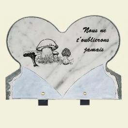 Plaque coeur avec champignons 33x25